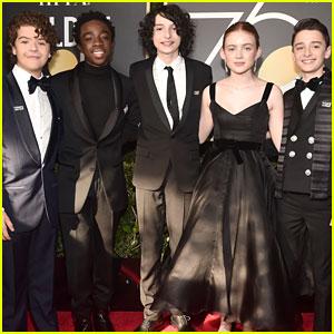 Sadie Sink, Gaten Matarazzo, & Finn Wolfhard Bring 'Stranger Things' to the Golden Globes 2018